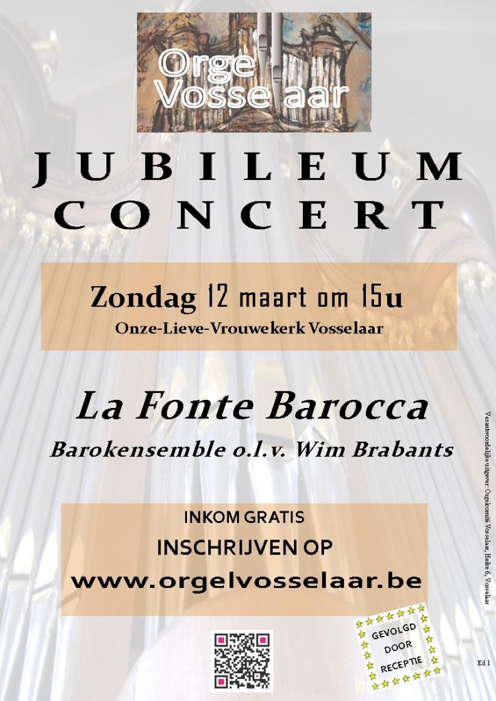 Jubileum - concert met La Fonte Barocca 12 maart 2017